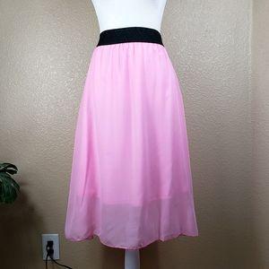 LulaRoe bubble gum pink sheer midi skirt